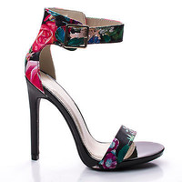 Canter Black Flower by Delicious, Black Flower Delicious Women's Single Sole Ankle Strap High Heels