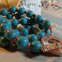 Blue Colored Turquise and Copper Necklace Set