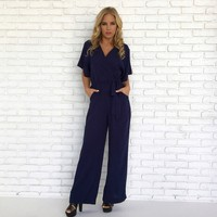Sweet Caroline Jumpsuit in Navy Blue