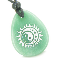 Amulet Magic Earth Yin Yang Sun, Moon Stars Green Quartz Pendant Necklace