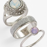 Women's Topshop Crystallized Rings (Set of 3)