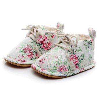 Baby Girl Spring Floral Casual Crib Shoes Lace Up Soft Sole Walkers Size 2.5-4