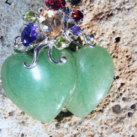 Double Heart Adventurine Pendant with Gemstone Cluster Accent in Sterling Silver