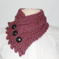 Handmade Cable Knit Cowl, Fishermans Wife Cowl, Neck Warmer, Knitted Cowl, Cable Knit Scarf, Made to Order, Color:  Fig