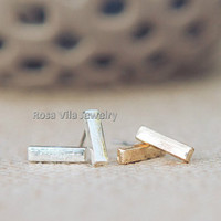 Simple Bar Earrings - Gold and Silver; cute and simple bar stud earrings; minimalist studs; Tiny bars