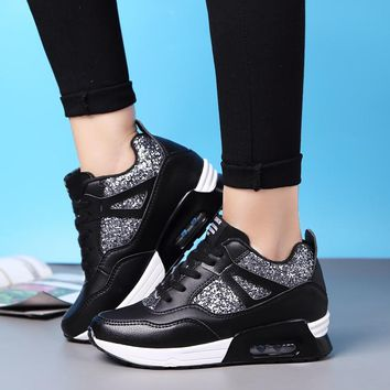All Season Women's Sequins Height Increase Air Cushion Sneakers Outdoor Bling Sport Shoes Antislip Breathable Running Size 35-40