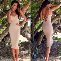 Sexy Women Evening Party Dresses Bohemian Style Back Cross Over Hip Spaghetti Straps Tight Dresses = 1928872388