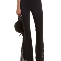 Black Crochet-Trim High-Waisted Flare Pants by Charlotte Russe