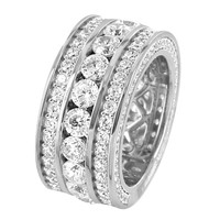 Men's 14k Rhodium Finish Solitaire Iced Out Lab Diamonds Silver Eternity Band