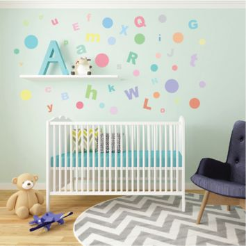 A-Z Alphabet ABC's & 23 Multi sized Sorbet Dot Fabric Wall Decals