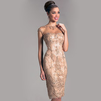 Elegant Cocktail Dresses For Women Sheath Crew Sheer Cap Sleeves Lace Beading Backless Knee Length Wedding Evening Party Dress