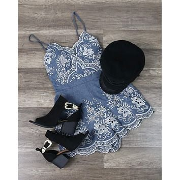 Night Rider Embroidered Romper - Denim