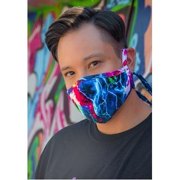 Rainbow Lightning Tailored Face Mask With Filter - J Valentine FF554
