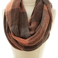 Checkered Plaid Infinity Scarf by Charlotte Russe - Gray Combo