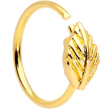 "20 Gauge 5/16"" Gold Tone Feather Seamless Circular Ring"