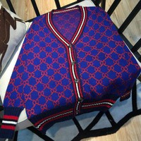 GUCCI Contrast Color Knit Cotton Sweater Cardigan Coat Day-First™
