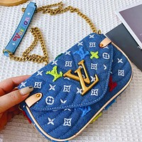 LV Bag Louis Vuiton Spring and summer new women's bag single shoulder slant letter printing large capacity bag Cowboy Blue