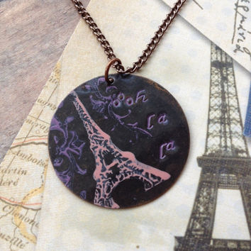 Oooh La La Eiffel Tower Necklace, Hand Stamped Pink Purple