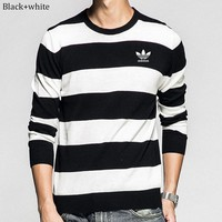 ADIDAS Clover 2018 autumn and winter new trend men's fashion round neck long-sleeved sweater black+white
