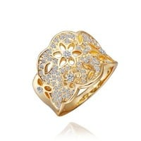 18K Yellow Gold Plated Swarovski Elements Crystal Hollow Flowers Ring, Size 8