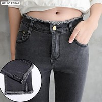 Spring new high waist skinny jeans female ankle-length Small feet pants Solid Color Fringed Spandex Pencil Pants J2001