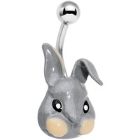 Glitter Gray Happy Easter Bunny Rabbit Belly Ring