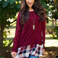 Fireside Long Sleeve Top - Burgundy