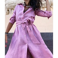 2020 autumn and winter new product lapel split slim women's dress