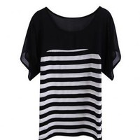 Striped T-shirt with Ruffle Sleeves