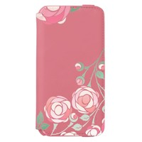 Cute Girly Pink Bold Floral Incipio Watson™ iPhone 6 Wallet Case