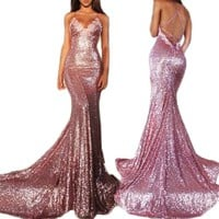 2018 Gotidy Women's Sexy Mermaid Spaghetti Straps Sequins Long Prom Party Dresses