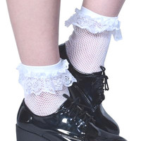 Ruffle Lola Ankle Socks - White