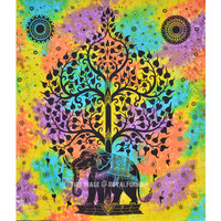 Hippie Elephant Tree Tapestry Wall Hanging, Tie Dye Sheet Bedding on RoyalFurnish.com