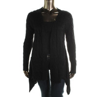 Ceny Womens Cable Knit Drape Front Cardigan Sweater