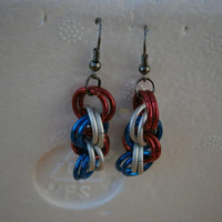 Earrings Red White and Blue Double Spiral maille jewelry handmade made in USA free US shipping global shipping