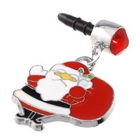 1x Santa Claus with Bag of Gifts Charm Dust Proof Dust Plug iPhone Speaker Plug Plugy