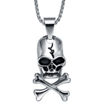 Stainless Steel Gothic Skull Crossbones Pendant Necklace