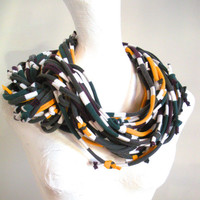 Chunky Multicolor Striped Infinity Scarf Upcycled Circle Scarf Gray White Green Gold Maroon Cowl Scarf Spring Fashion