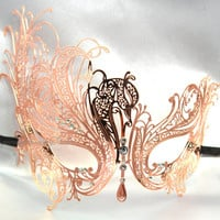 Black Laser Cut Venetian Masquerade Mask with Sparkling Crystals - Luxury Filigree Metal Mask Collection
