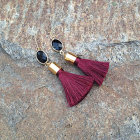 USC Gamecocks Tassel Earrings, South Carolina, Garnet and Black Gold Dangle Earring, The Persnickety Cricket - The Tailgate Collection