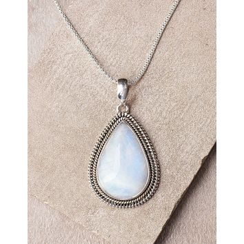 Rainbow Moonstone Filagree Pendant Necklace