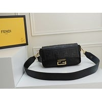 HCXX 19June 434 Fendi Baguette FF Gold Button Flipped handbag 26-14-6.5 black