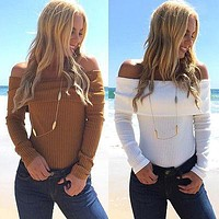 2016 New Women Long Sleeve Loose  Knitted Sweater Jumper Knitwear