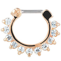 Rose Gold-Tone Stainless Steel Sparkle Petal Septum Clicker