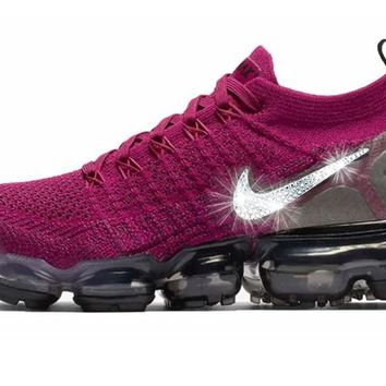 CLEARANCE - Nike Air VaporMax Flyknit 2 + Crystals - Raspberry Red/Black - Size 9
