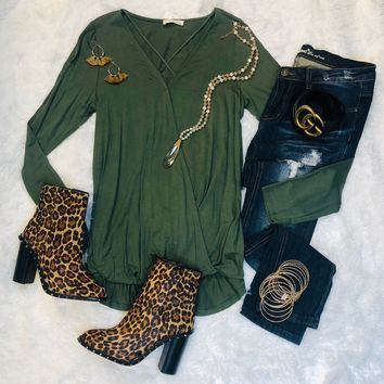 Call It Casual Olive Long Sleeve Top