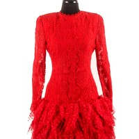 Vintage Bill Blass Red Lace Dress