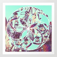 Los Angeles Ferris Wheel Abstract Mosaic Art Print by Raw Sugar