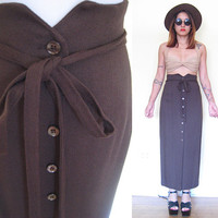 Vintage 90's high waisted button down brown tie maxi pencil skirt