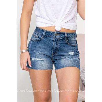 Leena Distressed Mid Rise Shorts